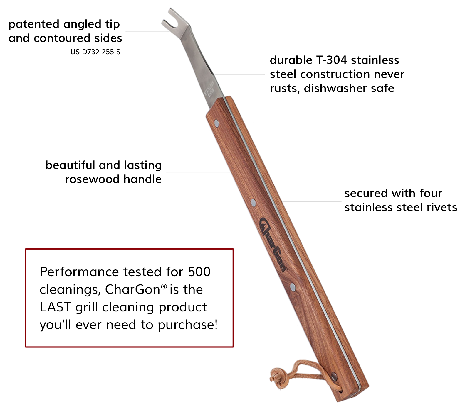 patented angled tip and contoured sides (US D732 255 S), durable T-304 stainless steel construction never rusts, dishwasher safe, beautiful and lasting rosewood handle, secured with four stainless steel rivets